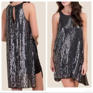 Black Sequin Nova Side Slit Shift Dress Size Med